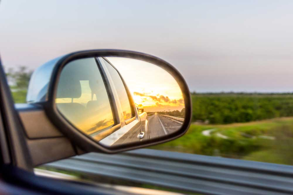 Blind spot mirror. Vehicle safety concept.